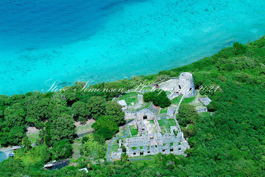 Aerial view of Annaberg Plantation ruins<br />