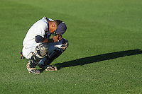 Cedar Rapids Kernels catcher Brian Navarreto (21) prior to game five of the Midwest League Championship Series against the West Michigan Whitecaps on September 21st, 2015 at Perfect Game Field at Veterans Memorial Stadium in Cedar Rapids, Iowa.  West Michigan defeated Cedar Rapids 3-2 to win the Midwest League Championship. (Brad Krause/Four Seam Images)