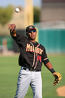 August 24 2008: Daniel Mayora of the Modesto Nuts before game against the Lancaster JetHawks at Clear Channel Stadium in Lancaster,CA.  Photo by Larry Goren/Four Seam Images