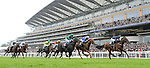 Declaration of War (no. 4), ridden by Joseph O'Brien and trained by Aiden O'Brien, upsets favored Animal Kingdom (no. 2) John Velazquez to win the group 1 Queen Anne Stakes for four year olds and upward on June 18, 2013 at Ascot Racecourse in Ascot, Berkshire, United Kingdom.  (Bob Mayberger/Eclipse Sportswire)