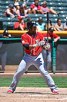 Rymer Liriano (28) of the El Paso Chihuahuas at bat against the Salt Lake Bees in Pacific Coast League action at Smith's Ballpark on July 26, 2015 in Salt Lake City, Utah. El Paso defeated Salt Lake 6-3 in 10 innings. (Stephen Smith/Four Seam Images)