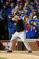 Cleveland Indians Roberto Perez (55) bats in the seventh inning during Game 5 of the Major League Baseball World Series against the Chicago Cubs on October 30, 2016 at Wrigley Field in Chicago, Illinois.  (Mike Janes/Four Seam Images)