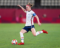 KASHIMA, JAPAN - AUGUST 2: Becky Sauerbrunn #4 of the USWNT passes the ball during a game between Canada and USWNT at Kashima Soccer Stadium on August 2, 2021 in Kashima, Japan.