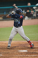Israel Pineda (11) of the Wilmington Blue Rocks at bat against the Greensboro Grasshoppers at First National Bank Field on May 25, 2021 in Greensboro, North Carolina. (Brian Westerholt/Four Seam Images)