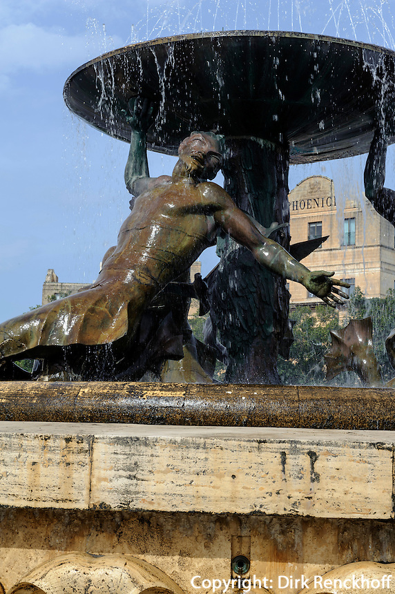 Tritonenbrunnen in Valletta, Malta, Europa, Unesco-Weltkulturerbe