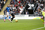 St Mirren v St Johnstone…29.08.21  SMiSA Stadium    SPFL<br />Stevie May watches as his flick shot goes just wide<br />Picture by Graeme Hart.<br />Copyright Perthshire Picture Agency<br />Tel: 01738 623350  Mobile: 07990 594431