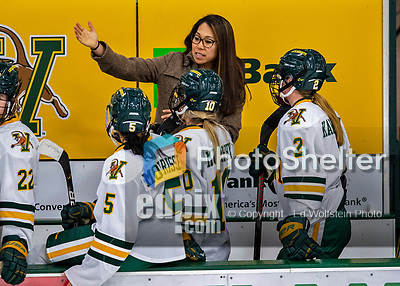 9 February 2020: University of Vermont Catamount Associate Head Coach Jess Koizumi, in her thirdseason coaching at Vermont, gives bench instruction during a time out in the 3rd period against the University of Connecticut Huskies at Gutterson Fieldhouse in Burlington, Vermont. The Lady Cats defeated the Huskies 6-2 in the second game of their weekend Hockey East series. Mandatory Credit: Ed Wolfstein Photo *** RAW (NEF) Image File Available ***