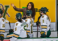 9 February 2020: University of Vermont Catamount Associate Head Coach Jess Koizumi, in her third season coaching at Vermont, gives bench instruction during a time out in the 3rd period against the University of Connecticut Huskies at Gutterson Fieldhouse in Burlington, Vermont. The Lady Cats defeated the Huskies 6-2 in the second game of their weekend Hockey East series. Mandatory Credit: Ed Wolfstein Photo *** RAW (NEF) Image File Available ***