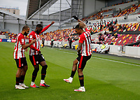 17th October 2020; Brentford Community Stadium, London, England; English Football League Championship Football, Brentford FC versus Coventry City; Ivan Toney of Brentford celebrates scoring his sodas 1st goal in the 46th minute to make it 1-0 with Bryan Mbeumo and Josh Dasilva of Brentford