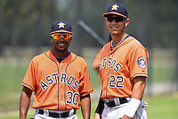 Houston Astros Edwin Medina (30) and Alexander Melendez (22) before a minor league spring training game against the Detroit Tigers on March 25, 2015 at Tiger Town in Lakeland, Florida.  (Mike Janes/Four Seam Images)