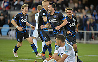 San Jose, CA - Saturday March 03, 2018: San Jose Earthquakes celebrate a goal during a 2018 Major League Soccer (MLS) match between the San Jose Earthquakes and Minnesota United FC at Avaya Stadium.