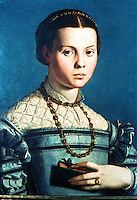Paintings:  Bronzino--Portrait of a Medicean Princess.  Galleria Uffizi, Florence.  Reference only.