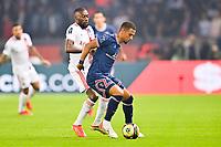 19th September 2021: Le Parc des Princes, Paris, France; French League 1 football Paris Saint Germain versus Olympique Lyonnais:   Thilo Kehrer PSG beats Karl Toko Ekambi OL