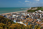Great Britain, England, East Sussex, Hastings at Strait of Dover: View over old town and beach from East Hill