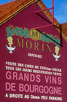 "AJ1645, Burgundy, France, Beaune, viticulture, Europe, A mural advertising a vineyard is painted on the side of a building in Beaune """"The Heart of Burgundy"""", France."