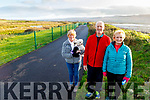 Mary Higgins from Manor with her dog along with Pat and Margaret Flavin from Listowel enjoying a leisurely walk on the new walkway between Cockleshell Rd and Lohercannon on Friday.