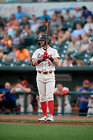 Great Lakes Loons Matt Cogen (5) during a Midwest League game against the Clinton LumberKings on July 19, 2019 at Dow Diamond in Midland, Michigan.  Clinton defeated Great Lakes 3-2.  (Mike Janes/Four Seam Images)