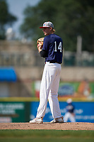Pitcher Kevin Davis (14) during the Dominican Prospect League Elite Underclass International Series, powered by Baseball Factory, on August 31, 2017 at Silver Cross Field in Joliet, Illinois.  (Mike Janes/Four Seam Images)