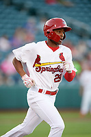 Springfield Cardinals left fielder Magneuris Sierra (29) runs to first base during a game against the Corpus Christi Hooks on May 30, 2017 at Hammons Field in Springfield, Missouri.  Springfield defeated Corpus Christi 4-3.  (Mike Janes/Four Seam Images)
