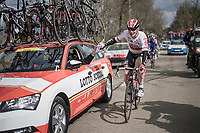André Greipel (DEU/Lotto-Soudal) getting rid of his jacket<br /> <br /> 105th Scheldeprijs 2017 (1.HC)<br /> 1 Day Race: Mol › Schoten (BEL/202km)
