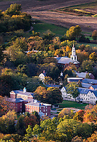 Aerial view of the quaint town of Deerfield, Massachusetts, USA