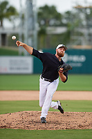 Detroit Tigers relief pitcher Buck Farmer (45) delivers a pitch during a Grapefruit League Spring Training game against the New York Yankees on February 27, 2019 at Publix Field at Joker Marchant Stadium in Lakeland, Florida.  Yankees defeated the Tigers 10-4 as the game was called after the sixth inning due to rain.  (Mike Janes/Four Seam Images)