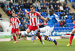 St Johnstone v Kilmarnock....20.10.12      SPL.Gregory Tade is denied by Manuel Pascali.Picture by Graeme Hart..Copyright Perthshire Picture Agency.Tel: 01738 623350  Mobile: 07990 594431