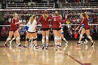 STANFORD, CA - NOVEMBER 17: Stanford, CA - November 17, 2019: Kathryn Plummer, Meghan McClure, Jenna Gray, Jenna Gray, Holly Campbell, Morgan Hentz at Maples Pavilion. #4 Stanford Cardinal defeated UCLA in straight sets in a match honoring neurodiversity. during a game between UCLA and Stanford Volleyball W at Maples Pavilion on November 17, 2019 in Stanford, California.