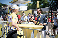 yellow jersey / GC leader Tadej Pogacar (SVN/UAE-Emirates) interviewed pre-stage by former winner Alberto Contador for Eurosport.<br /> <br /> Stage 21 (Final) from Chatou to Paris - Champs-Élysées (108km)<br /> 108th Tour de France 2021 (2.UWT)<br /> <br /> ©kramon
