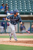Jacksonville Jumbo Shrimp center fielder Yefri Perez (12) runs to first base during a game against the Birmingham Barons on April 24, 2017 at Regions Field in Birmingham, Alabama.  Jacksonville defeated Birmingham 4-1.  (Mike Janes/Four Seam Images)