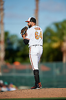 Baltimore Orioles relief pitcher Gabriel Ynoa (64) gets ready to deliver a pitch during a Grapefruit League Spring Training game against the Detroit Tigers on March 3, 2019 at Ed Smith Stadium in Sarasota, Florida.  Baltimore defeated Detroit 7-5.  (Mike Janes/Four Seam Images)