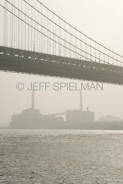 Manhattan Bridge, East River, Power Plant in Brooklyn's Dumbo Neighborhood in the Background, Morning, New York City, New York State, USA