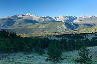 Longs Peak at sunrise from the Deer Mountain trail in Rocky Mountain National Park.