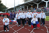Monday August 18, 2014 <br /> Picture: Russian Para-Athletes<br /> RE: Russian para-athletes at the opening ceremony of the 2014 IPC Athletics European Championships in Swansea University Sports Village.