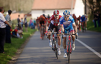 Tim De Troyer (BEL/Wanty-Groupe Gobert) trying to jump to the race leaders up ahead with Louis Vervaeke (BEL/Lotto-Soudal) jumping to his wheel.<br /> <br /> 55th Brabantse Pijl 2015