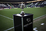 Derby County 1 Nottingham Forest 2, 17/01/2015. iPro Stadium, Championship. The Brian Clough Trophy, on display beside the pitch at the iPro Stadium before Derby Country's Championship match against Nottingham Forest. The match was won by the visitors by 2 goals to 1, watched by a derby-day crowd of 32,705. The trophy was named after the Brian Clough who managed both clubs with great success, predominantly in the 1980s and 1990s. Photo by Colin McPherson.