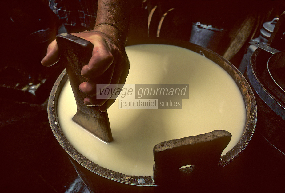 Europe/France/Auvergne/15/Cantal/Olmet: préparation du Cantal  <br /> PHOTO D'ARCHIVES // ARCHIVAL IMAGES<br /> FRANCE 1980