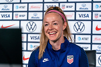 ORLANDO, FL - JANUARY 17: Becky Sauerbrunn #4 of the USWNT talks to the media on a zoom call during a press conference at the team hotel on January 17, 2021 in Orlando, Florida.