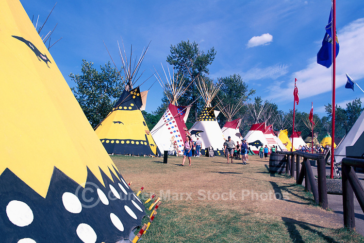 Teepees (Plains Indians) at Calgary Stampede Indian Village, Calgary, Alberta, Canada - Editorial Use Only
