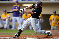 Mississippi State Bulldog designated hitter Trey Porter #32 connects on a first inning RBI single during the NCAA baseball game against the LSU Tigers on March 18, 2012 at Alex Box Stadium in Baton Rouge, Louisiana. LSU defeated Mississippi State 4-2. (Andrew Woolley / Four Seam Images).