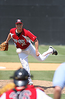 Matt Fairel #30 of the Carolina Mudcats pitching during a game against the West Tenn Diamond Jaxx on May 30, 2010 in Zebulon, NC.