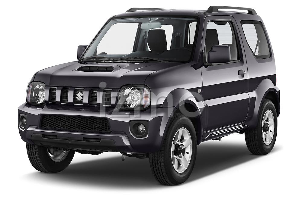 2014 Suzuki JIMNY JLX X-Citement 3 Door SUV 4WD Angular Front stock photos of front three quarter view