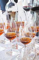 Wine tasting. Wine glasses. Moscatel de Setubal JM Jose Maria da Fonseca, Azeitao, Setubal, Portugal
