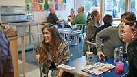 Students socialising in the college cafe, Further Education College.