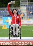 Michelle Stilwell, Toronto 2015 - Para Athletics // Para-athlétisme.<br /> Michelle Stilwell receives her Gold Medal for Women's 100m T52 // Michelle Stilwell reçoit sa médaille d'or pour le 100 m T52 féminin. 11/08/2015.