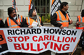 Ancillary workers from the Great Western Hospital in Swindon, built and managed by Carillion, protest at bullying and blacklisting by the company, outside an awards event at the Royal Institute of British Architecture, London.