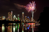 Colorful Fireworks Display on the 4th of July over Lake Austin, Texas