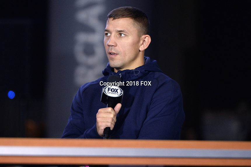 BROOKLYN, NY - DECEMBER 20: Boxer Matt Korobov is interviewed as he attends the Premier Boxing Champions press conference for the December 22 Fox PBC Fight Night at the Barclay Center on December 20, 2018 in Brooklyn, New York. (Photo by Anthony Behar/Fox Sports/PictureGroup)