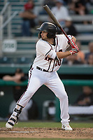 Modesto Nuts third baseman Joe Rizzo (20) at bat during a California League game against the Lake Elsinore Storm at John Thurman Field on May 12, 2018 in Modesto, California. Lake Elsinore defeated Modesto 4-1. (Zachary Lucy/Four Seam Images)