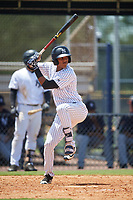 GCL Yankees West designated hitter Antonio Arias (12) at bat during a game against the GCL Yankees East on August 8, 2018 at Yankee Complex in Tampa, Florida.  GCL Yankees West defeated GCL Yankees East 8-4.  (Mike Janes/Four Seam Images)
